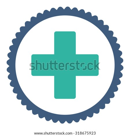 Plus round stamp icon. This flat vector symbol is drawn with cobalt and cyan colors on a white background. - stock vector