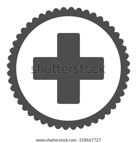 Plus round stamp icon. This flat vector symbol is drawn with gray color on a white background. - stock vector