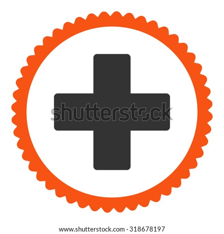 Plus round stamp icon. This flat vector symbol is drawn with orange and gray colors on a white background. - stock vector
