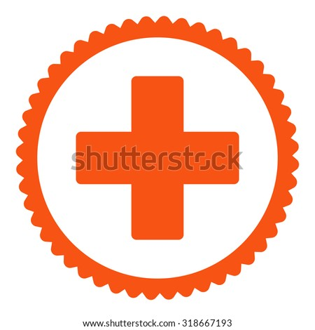 Plus round stamp icon. This flat vector symbol is drawn with orange color on a white background. - stock vector