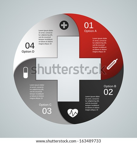Plus sign info graphic (template for your presentation) - stock vector