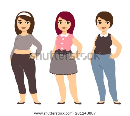 Plus size fashion. Young and pretty cartoon style girl wearing cute clothes. - stock vector