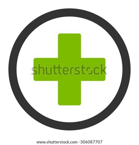 Plus vector icon. This rounded flat symbol is drawn with eco green and gray colors on a white background. - stock vector