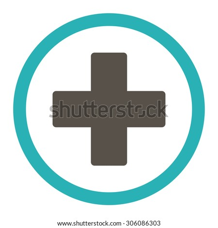 Plus vector icon. This rounded flat symbol is drawn with grey and cyan colors on a white background. - stock vector