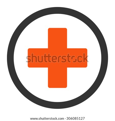 Plus vector icon. This rounded flat symbol is drawn with orange and gray colors on a white background. - stock vector