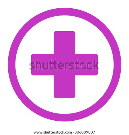 Plus vector icon. This rounded flat symbol is drawn with violet color on a white background. - stock vector