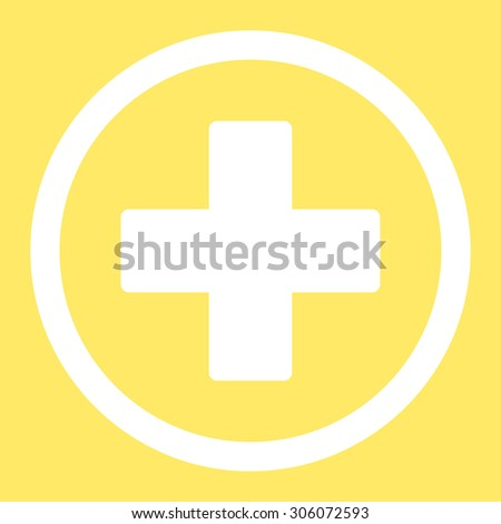 Plus vector icon. This rounded flat symbol is drawn with white color on a yellow background. - stock vector