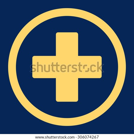 Plus vector icon. This rounded flat symbol is drawn with yellow color on a blue background. - stock vector
