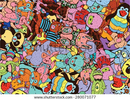 Plush Toys Colorful Background (vector eps10) - stock vector