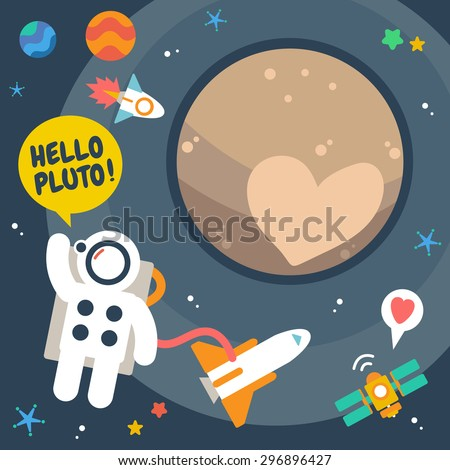 Pluto Planet , Flat Design Elements. Vector Illustration. - stock vector