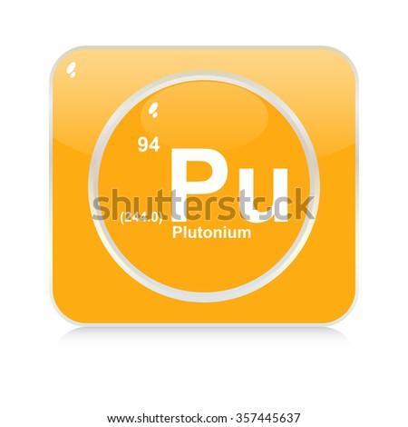 plutonium chemical element button - stock vector