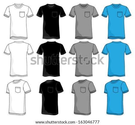Pocket Tshirt Template - stock vector