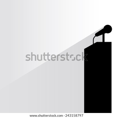 podium and microphone on white background, flat and shadow theme - stock vector