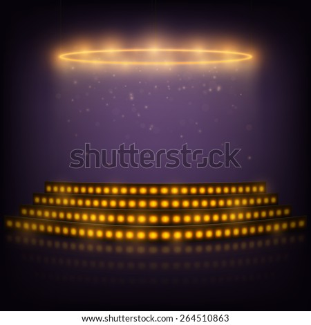 Podium for Performances with Spotlights. Vector Illustration. - stock vector