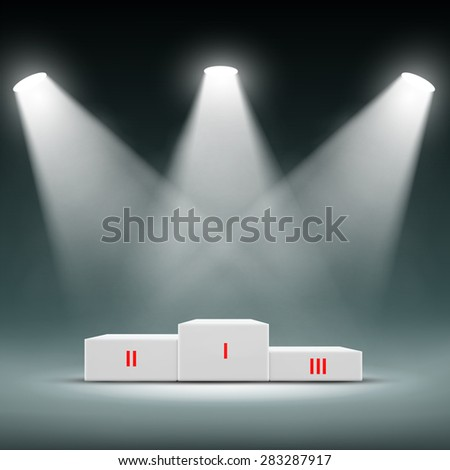 Podium for the winners. Awards Ceremony. Vector Image Stock. - stock vector