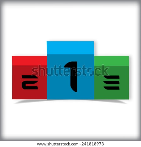 Podium,place, one two three - stock vector