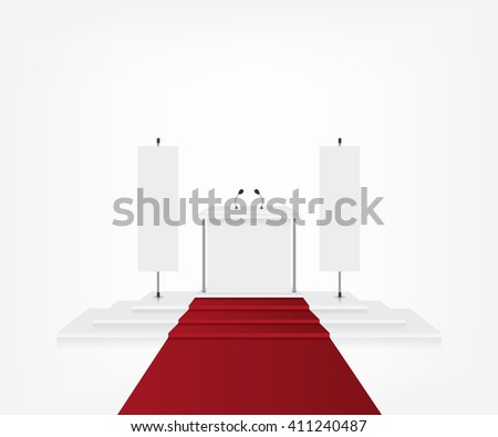 Podium with red carpet for award ceremony and flag banner - stock vector