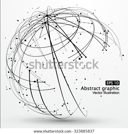 Point and curve constructed the sphere wire frame, technological sense abstract illustration. - stock vector