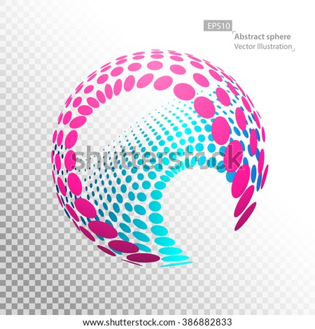 Point sphere, technology concept, technological development and coverage of the entire earth, abstract illustration. - stock vector