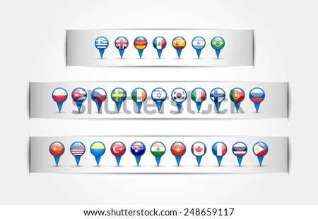 pointer with country flags in a round forme.Na white background. Isolated objects. Vector. - stock vector