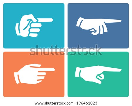 Pointing hand flat icons - stock vector