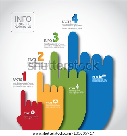 Pointing Hands Infographic Template. EPS 10 vector, grouped for easy editing. No open shapes or paths. - stock vector