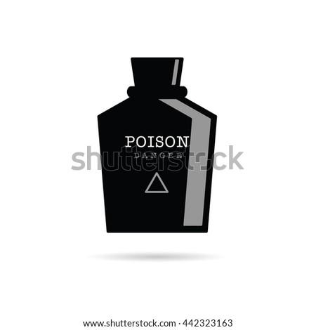 poison bottle danger illustration in black color - stock vector