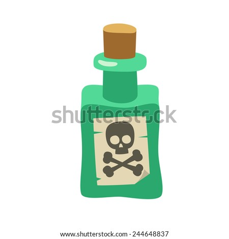poison green bottle with crossbones label, cartoon flat style vector ...