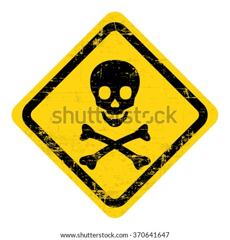 Poison warning sign, label. Grungy, worn style - stock vector