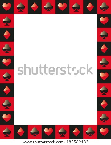 poker border frame game card red and black - stock vector
