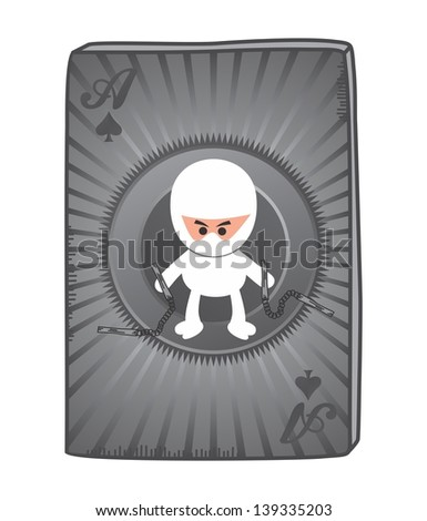 poker card ninja - stock vector