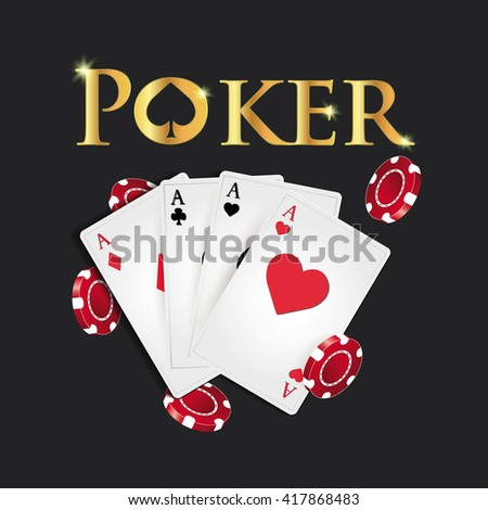 Poker cards and poker's symbol on a dark background. - stock vector