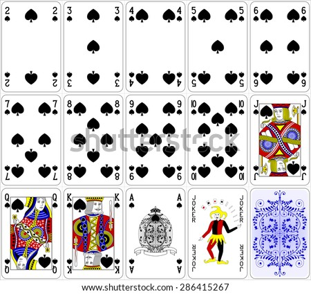 Poker cards spade set four color classic design 600 dpi - stock vector