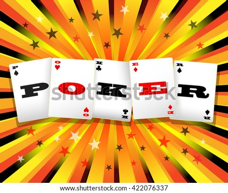 Poker cards word on colorful exploding background - stock vector