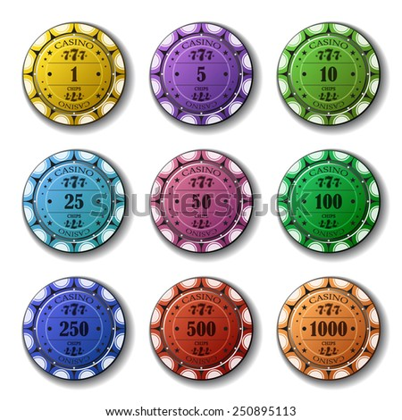 Poker chips set isolated on white background. - stock vector