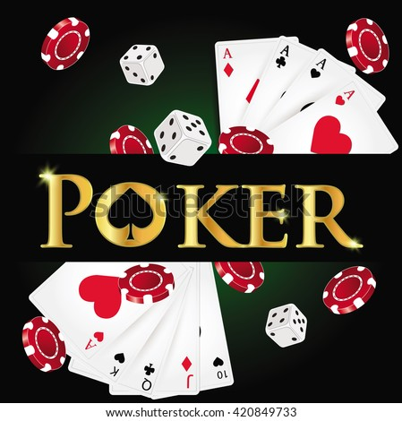 Poker design, cards and chips , casino games. - stock vector