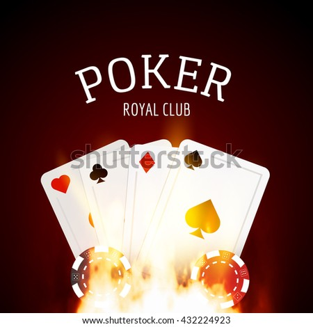 Poker game design template poster. Flame poker casino design with cards and chips. - stock vector