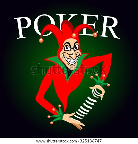 Poker game emblem with cartoon joker in colorful costume and hat with bells. Joker holds deck of playing cards in hands on dark green background with caption Poker  - stock vector