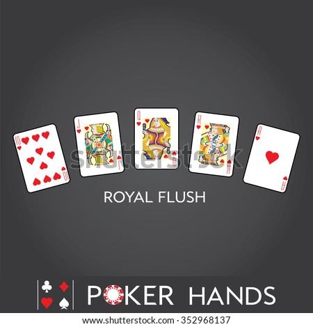 Poker Hands: Royal Flush - stock vector