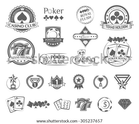 poker label and badges set - stock vector