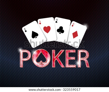 poker logo with poker card - stock vector