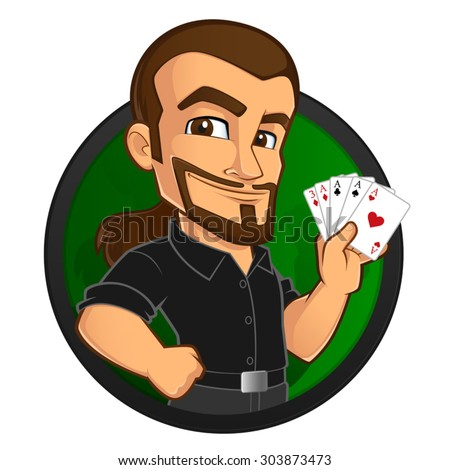 Poker player, he has some cards in his hand - stock vector