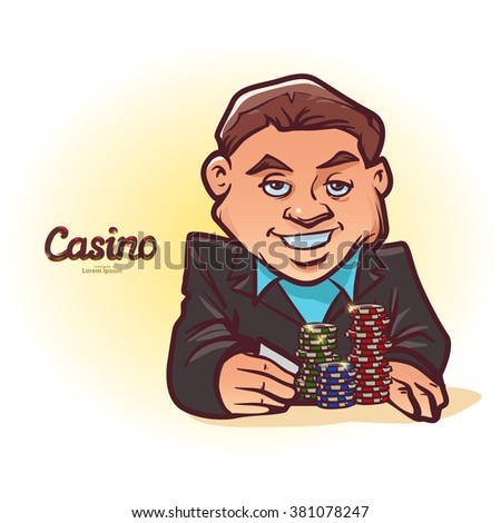 poker player in suit, has some cards, poker chips, casino, cartoon character, vector illustration - stock vector