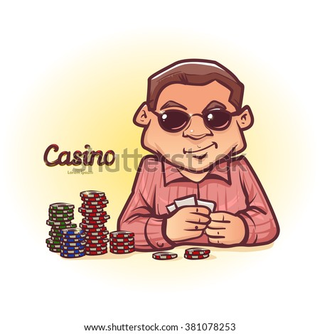poker player in sunglasses, has some cards, poker chips, casino, cartoon character, vector illustration - stock vector