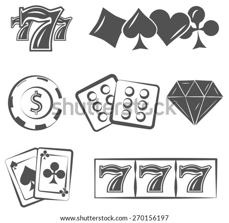 poker set. casino, playing cards and chips - stock vector