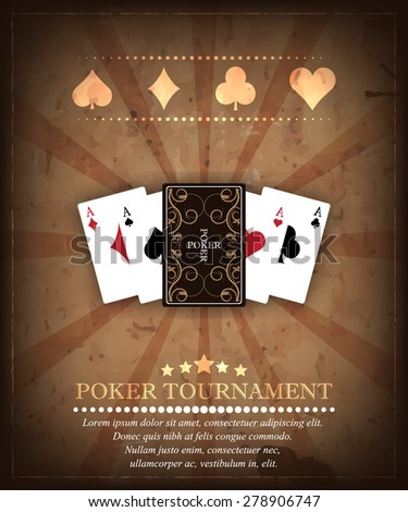 Poker tournament vector background, playing cards, poker symbols in retro style/design for your poker tournament, poster or banner - stock vector