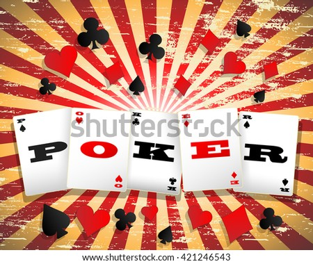 Poker word on playing cards against grungy background - stock vector