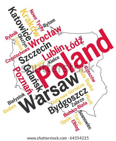Poland map and words cloud with larger cities - stock vector