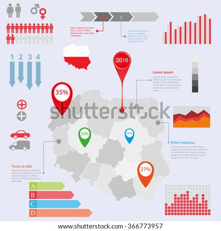 Poland map illustration and infographics design template. Vector illustration - stock vector