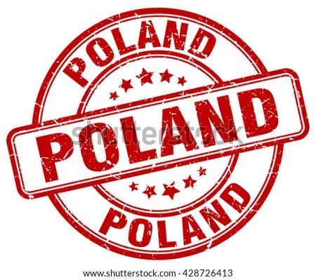 Poland red grunge round vintage rubber stamp.Poland stamp.Poland round stamp.Poland grunge stamp.Poland.Poland vintage stamp. - stock vector